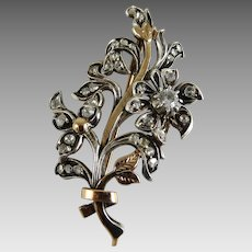Vintage Flower Spray Brooch 14K Sterling Rock Crystal
