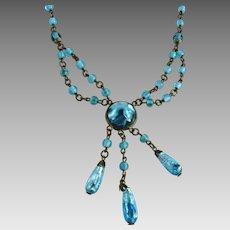 Vintage Art Deco Festoon Necklace Aqua Foil Glass