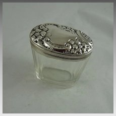 Antique Art Nouveau Cut Glass and Sterling Silver Vanity Jar