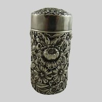 Antique Sterling Silver Repousse Powder Shaker Vanity