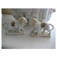 Victorian Pearlware Lions (PAIR) from Edinburgh, Scotland