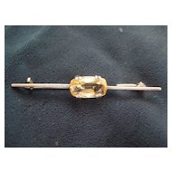 "English Silver Bar Pin with Citrine Stone/""C"" Clasp"