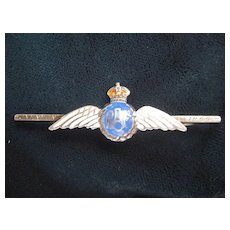 RAF - Royal Air Force Sweetheart Pin. Silver/Enamel