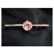 English Vintage Silver Bar Pin W/a Pale Amethyst Stone