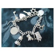English Charm Bracelet W/Heart Closure, Star of David, Keys
