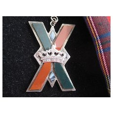 Lg Scottish St Andrews Cross with Crown/Vict Silver with Jasper