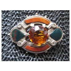 Victorian Scottish Bloodstone/Jasper Brooch, Silver w/Cairngorm