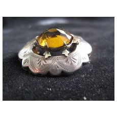 Scottish Victorian Brooch w/Faceted Citrine & engraved Silver