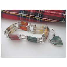 Scottish Victorian Silver/Agate Bracelet with Heart Closure