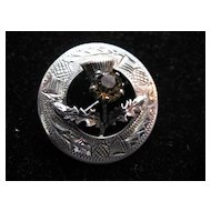 Scottish Vintage Sterling Silver Brooch with Citrine Thistle