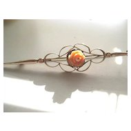 Pretty 3 Inch Victorian Rose Gold Filled Pin with Coral Rose