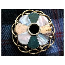REDUCED:  Large Scottish Victorian Agate Plaidie brooch