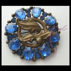 REDUCED: Fabulous Large Vintage Blue Rhinestone Brooch