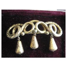 SALE:  Victorian Gold Filled Brooch with Three Hanging Pieces