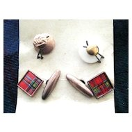 Vintage Set of Scottish Tartan Cufflinks and Collar Studs