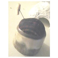 Antique Scottish Horn Pin Cushion Marked Dykehead
