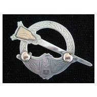 SALE:  Large Irish Silver/Rose Gold Pseudo-Pen annular Cloak Pin