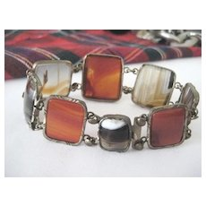 Scottish Victorian  Bracelet with Agates and Carnelian