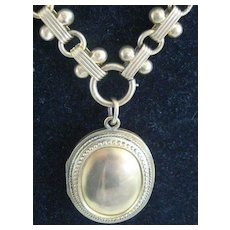 REDUCED: Fabulous Large Victorian Picture Locket with Fancy Chain