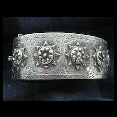 SALE:  C1882 Fabulous English Silver Cuff Bangle - Birmingham