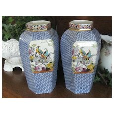 SALE: Pr Large Antique Blue Transferware English Vases w/Exotic Birds