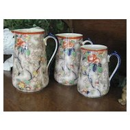 "Three Graduated English Victorian Chintz Jugs by Corona ""Rosetta"""