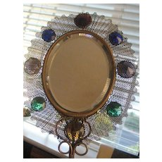 REDUCED Very Old Wonderfully Jeweled Hand Mirror
