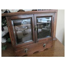 REDUCED: Antique Mahogany Smoker Chest with Beveled Glass Doors