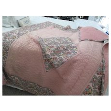 Early Vintage Collectible English Quilted Coverlet  56 x 68 inches