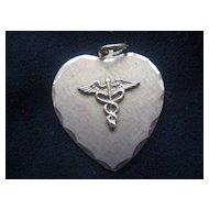 Vintage Medical Symbol Heart-Shaped Charm/Pendant