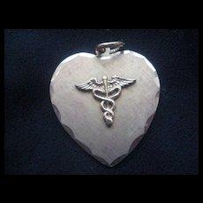 Vintage Medical Symbol Heart-Shaped Charm/Pendant