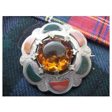 Scottish Victorian Silver Brooch w/Green Bloodstone/Red Jasper