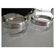 c1927 English Crystal/Hallmarked Silver Salts (PAIR)