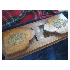Victorian English Oak Book Holder with Intertwined Monogram S H I