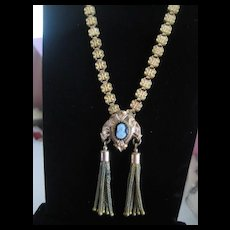 Victorian GF Bookchain Necklace with Two Tassels
