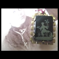 Unusual Two-sided Victorian Fob, Gold Filled Carnelian/Onyx