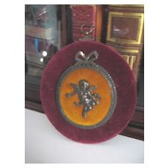 Vintage Velvet Plaque with Angel