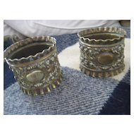 Pair of English Victorian Sculpted Brass Napkin Rings