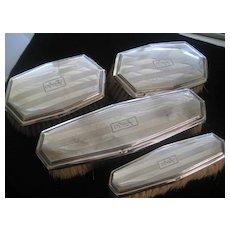 Set of Four Older Sterling Brushes Monogrammed HJC