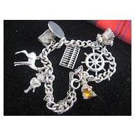REDUCED: 1950s English Silver Charm Bracelet W/Rabbit