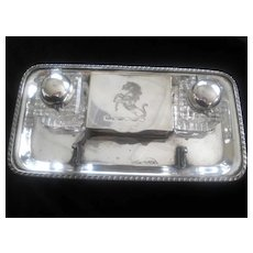 REDUCED: Silver Plated Inkwell Set W/Prancing Horse Design