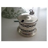 Vintage Silverplate Mustard Pot with Blue Glass Liner