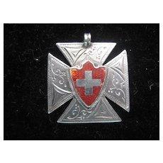 Vintage English Hallmarked Medal w/Red Shield & Cross