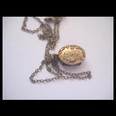 Pretty Gold Filled Tiny Locket with Initials D F D