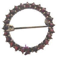 Early Vintage Garnet Circle Brooch