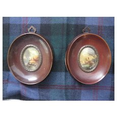 Pair of Antique Miniature Oil Paintings - Signed
