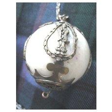 Antique Large White Jade Hanging Ball w/Brass Ornamentation