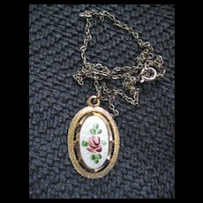 Pretty Vintage Guilloche Style Necklace with Rose