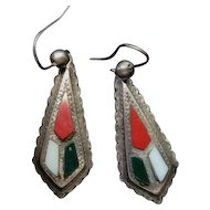 Victorian Scottish Silver Earrings w/Jasper and Agate
