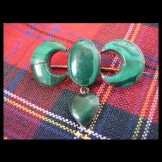 Victorian Scottish Malachite Brooch w/Hanging Heart